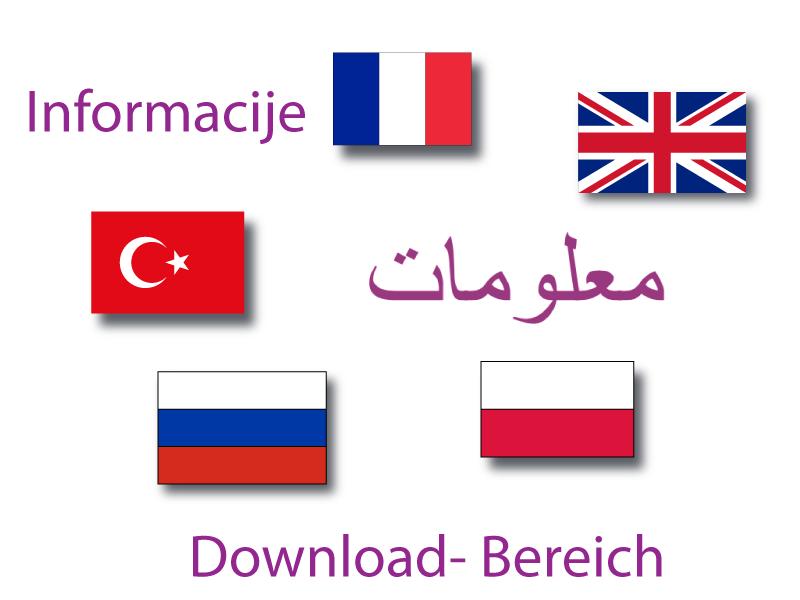 Infografik Informationen in verschiedenen Sprachen